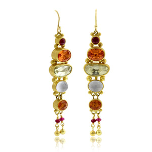 18K Yellow Gold Multi Stone Bezel Set Drop Earrings
