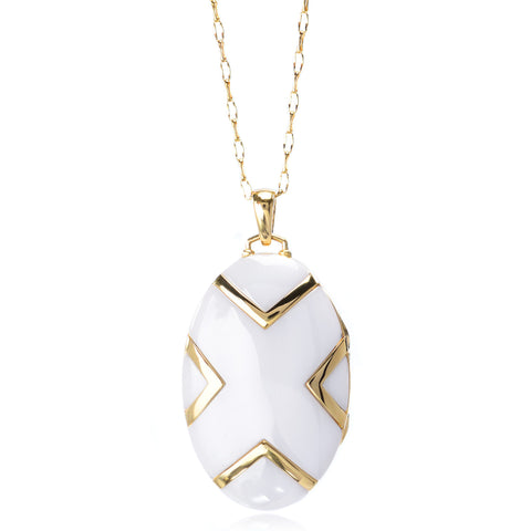 18K Yellow Gold White Ceramic Locket