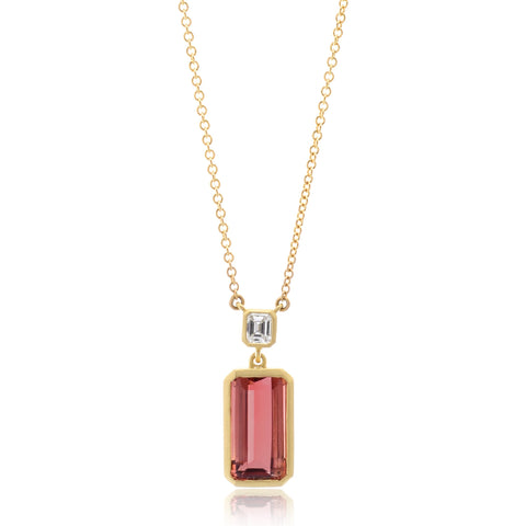 18K Yellow Gold Diamond and Pink Tourmaline Necklace