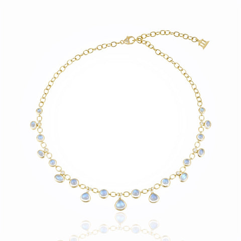 18K Yellow Gold Half Bib Necklace with Royal Blue Moonstone and Diamond