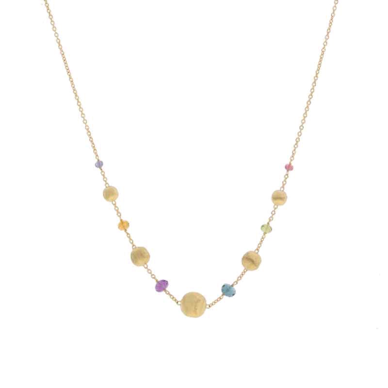Africa 18K Yellow Gold Mix Stone Necklace