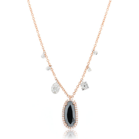 14K Rose Gold Long Oval Hematite and Diamond Necklace