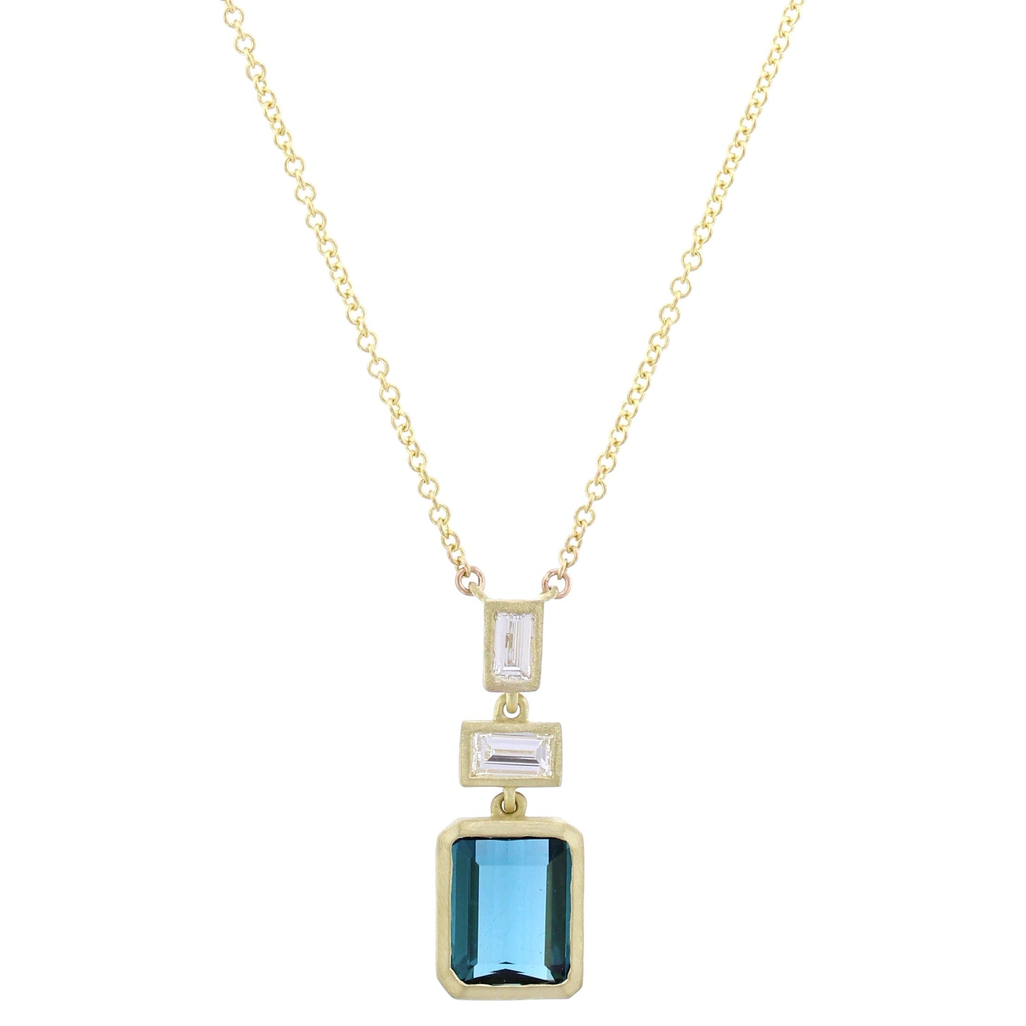 18K Yellow Gold Emerald Cut Indicolite Necklace