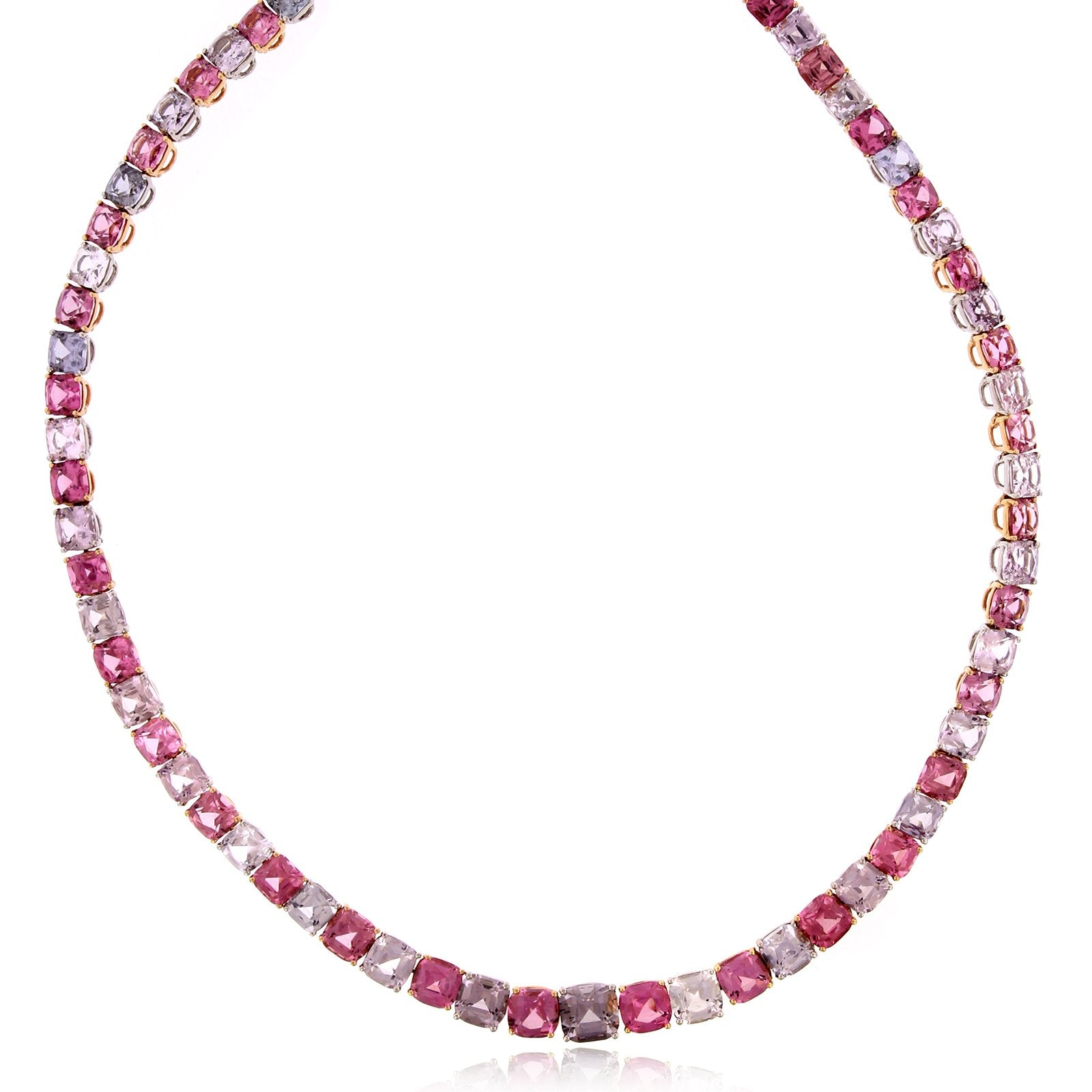 Platinum and 18K Rose Gold Pink and Grey Spinel Necklace