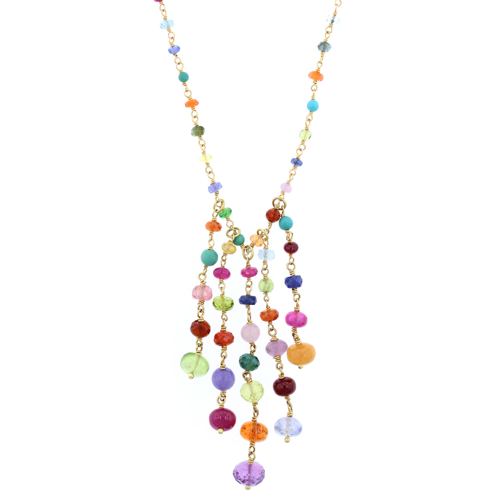 18K Yellow Gold Multi Gemstone Necklace