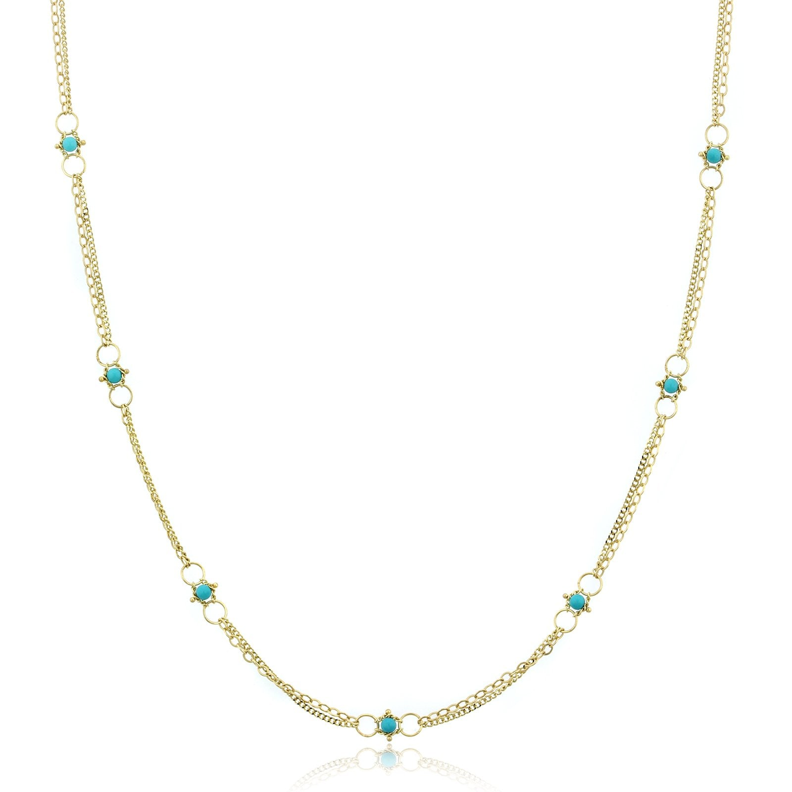 18K Yellow Gold Round Turquoise Station Necklace