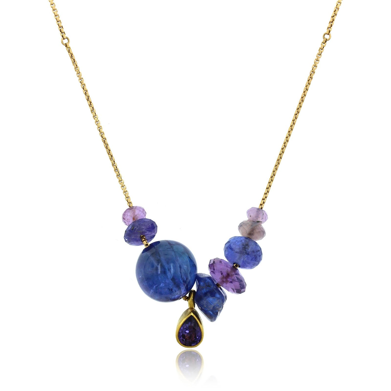 18K Yellow Gold Multi Stone Adjustable Necklace