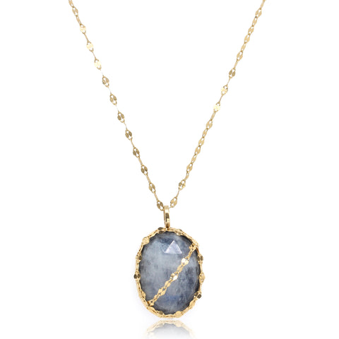 14K Yellow Gold Moonstone and Black Onyx Single Drop Necklace