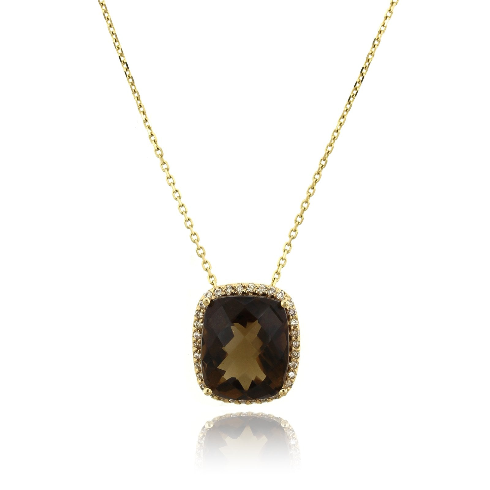 14K Yellow Gold Smokey Topaz Diamond Pendant