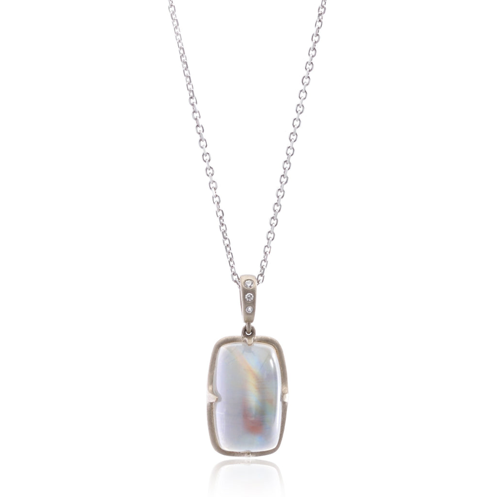 18K White Gold Moonstone Necklace