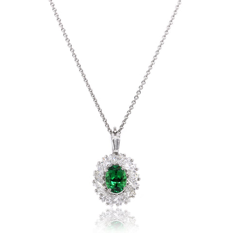 Platinum Oval Tsavorite and Diamond Pendant (One-Of-A-Kind Collection)