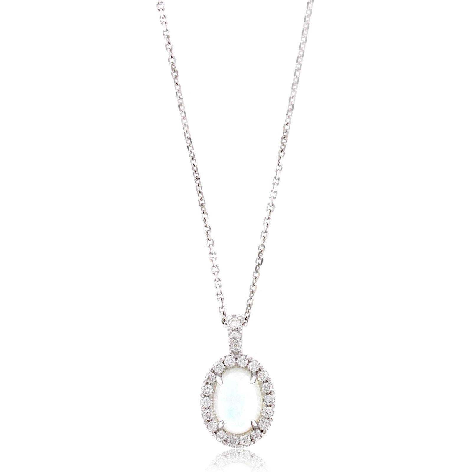 18K White Gold Oval Moonstone and Diamond Pendant