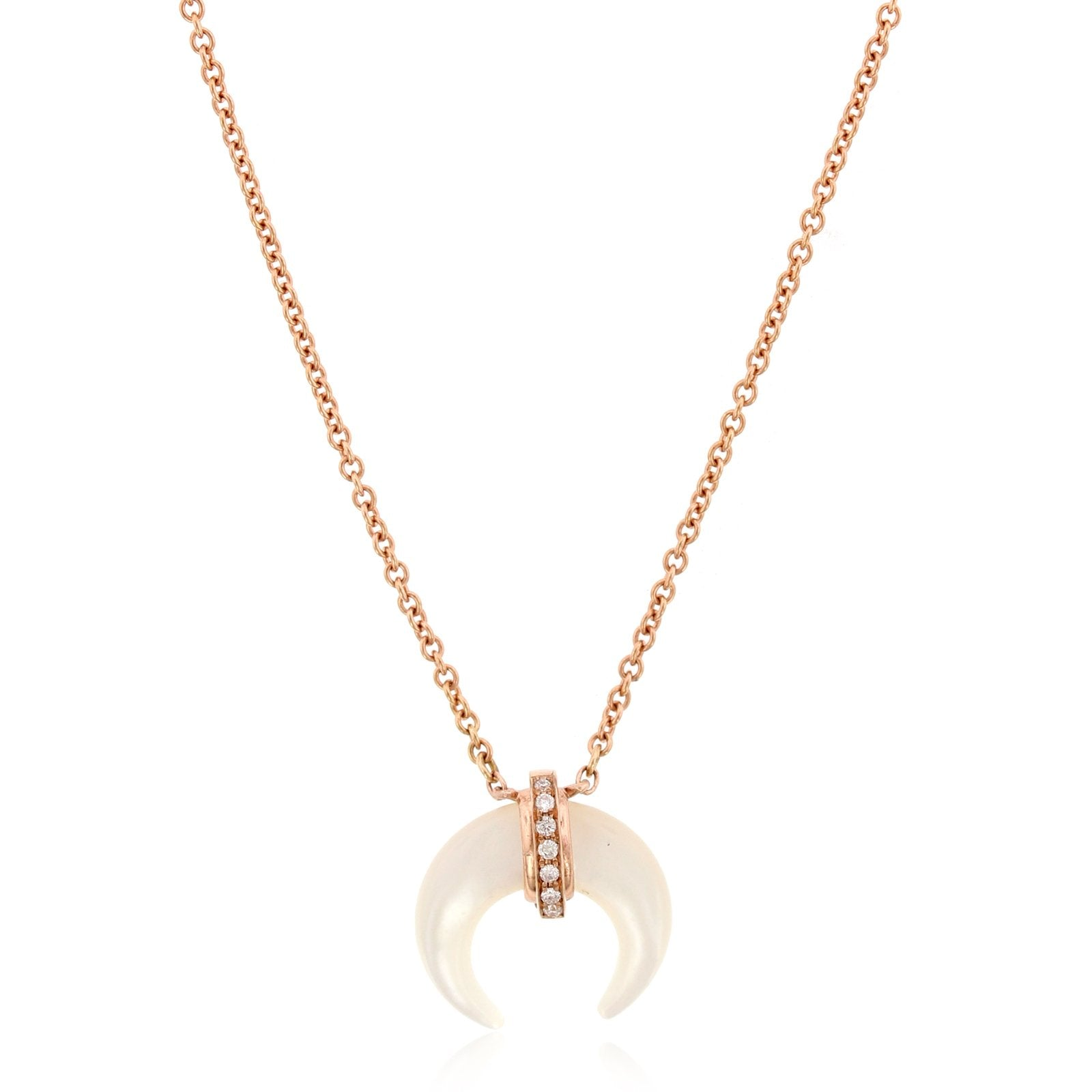 14K Rose Gold Shell Horn Pendant