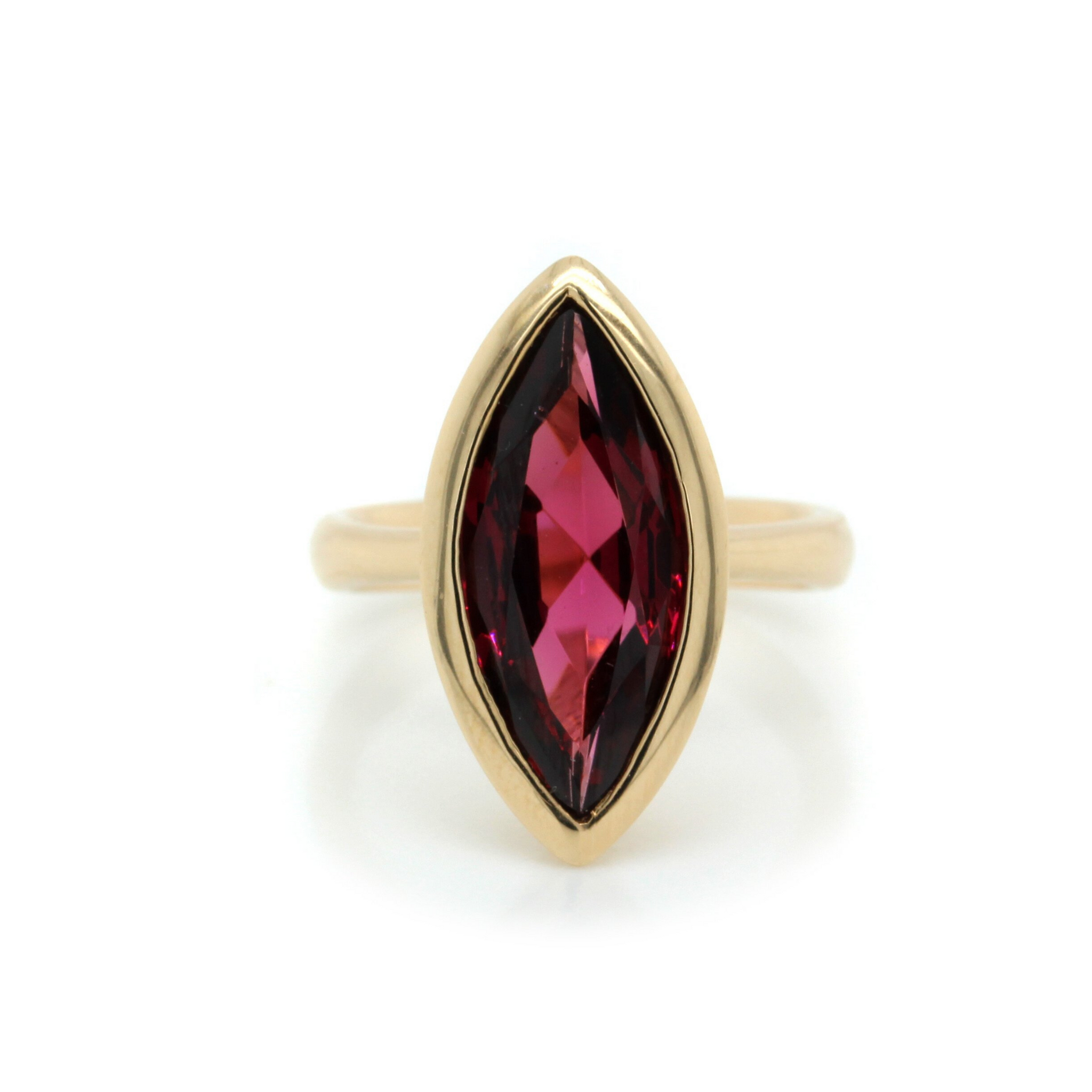 14K Yellow Gold Marquise Shaped Tourmaline Ring