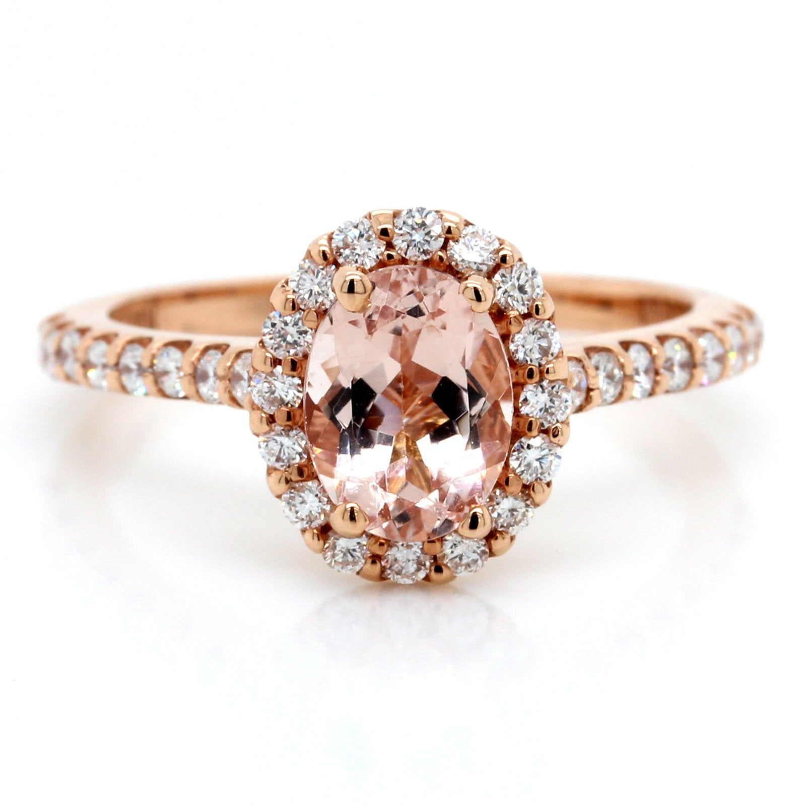 14K Rose Gold Oval Morganite and Diamond Halo Ring