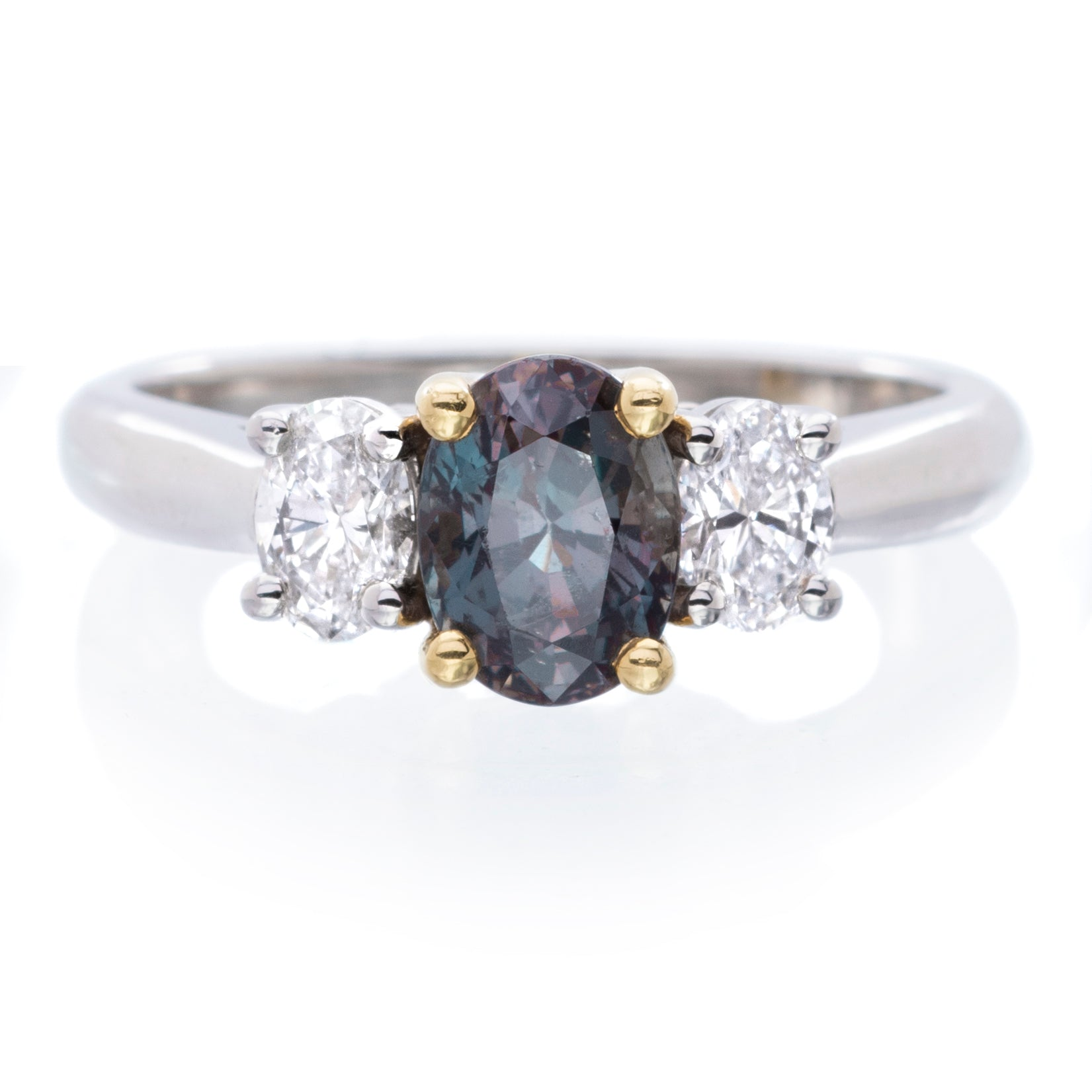 18K Yellow Gold and Platinum Alexandrite Diamond Ring