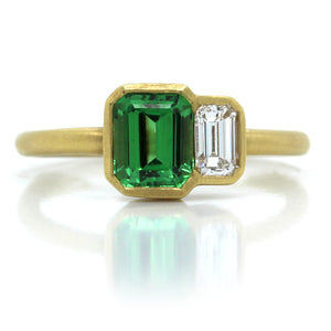 18K Yellow Gold Emerald Cut Tsavorite and Diamond Ring