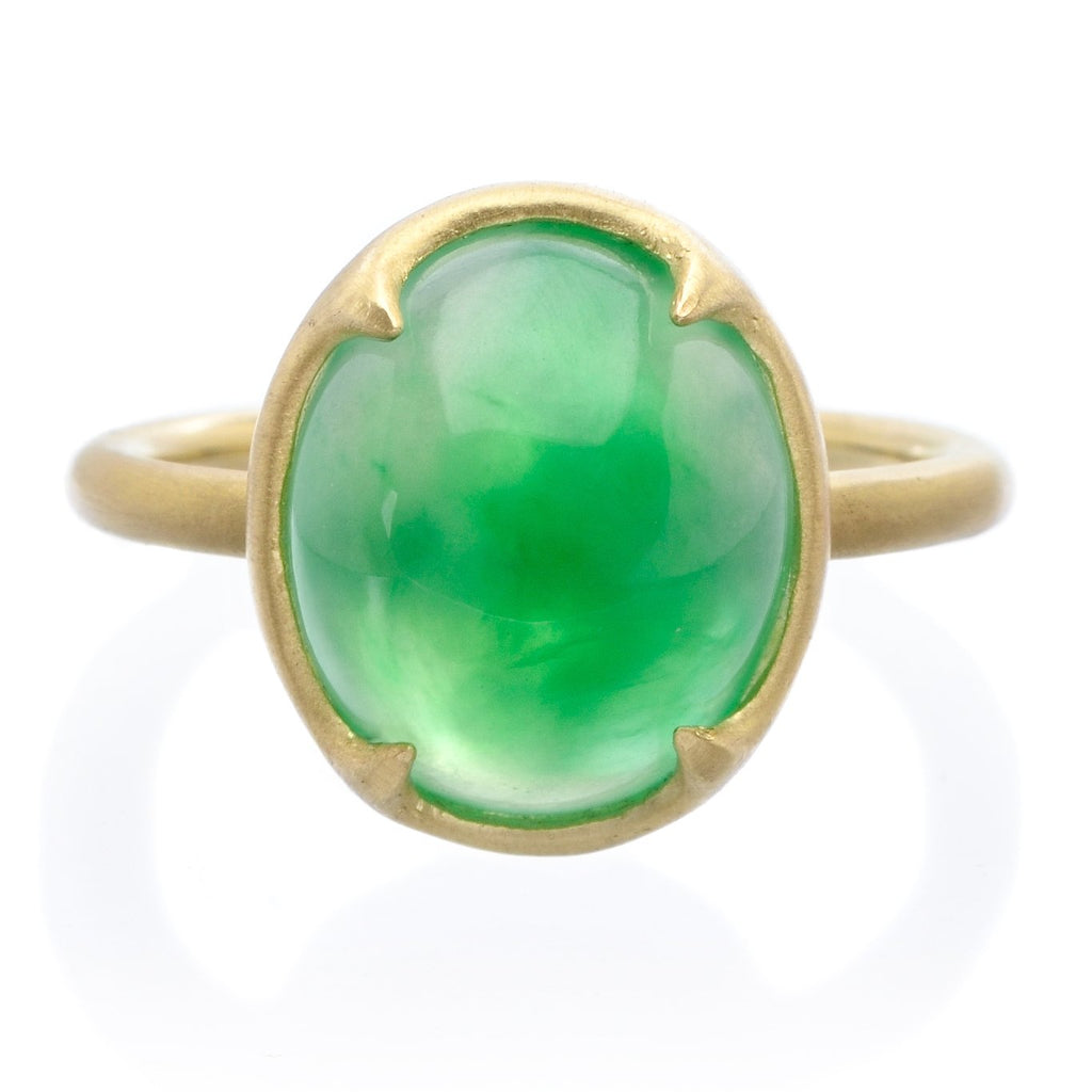 18K Yellow Gold Natural Jadeite Ring