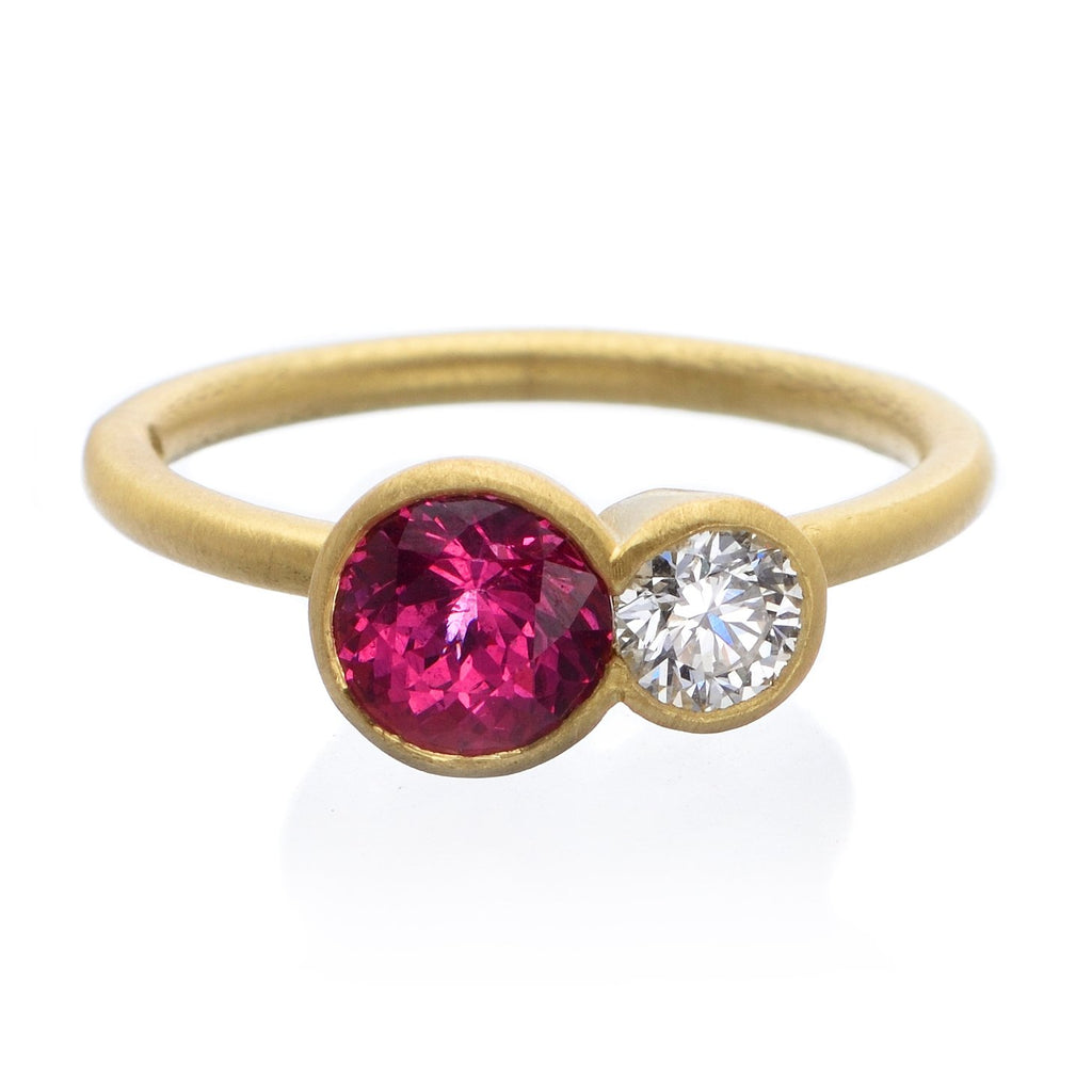 18K Yellow Gold Diamond and Watermelon Spinel Tanzanian Ring