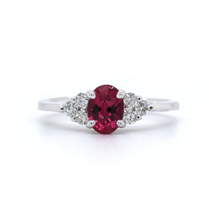 14K White Gold Pink Tourmaline Diamond Ring
