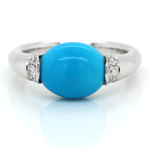 14K White Gold Turquoise Ring