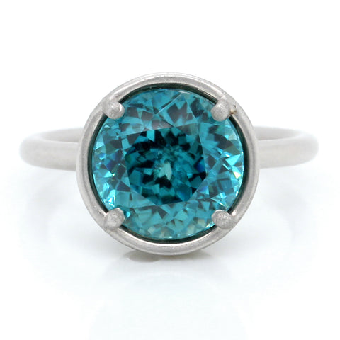 18K White Gold Blue Zircon and Diamond Halo Ring