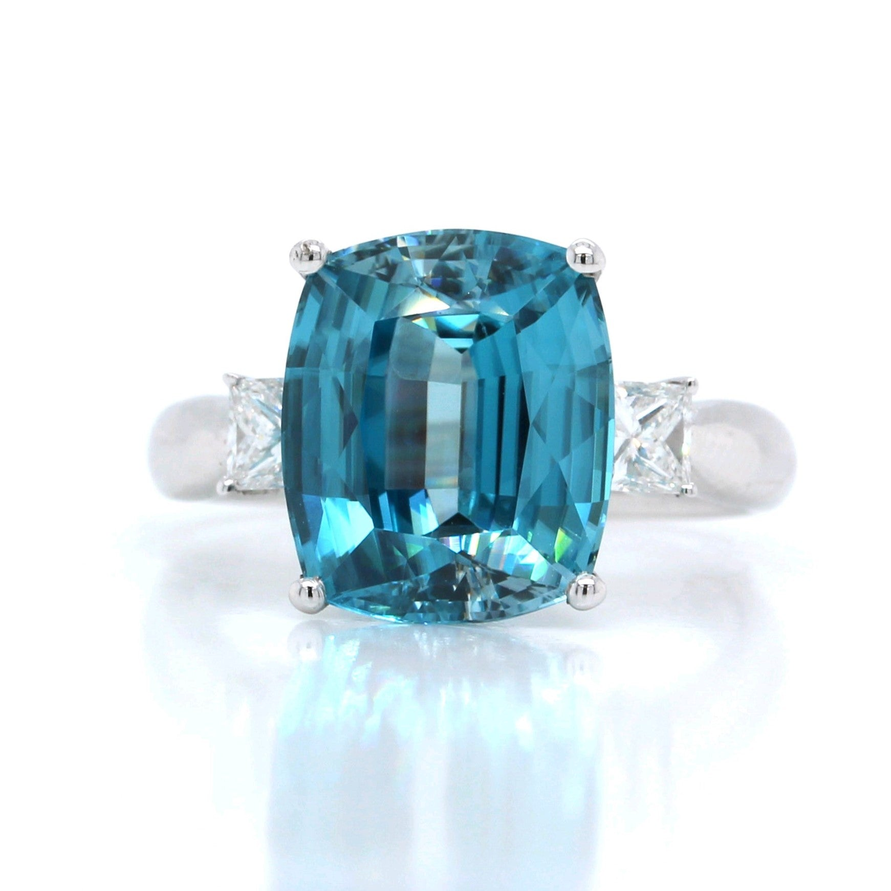 14K White Gold Cushion Blue Zircon and Diamond Ring