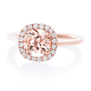 14K Rose Gold Morganite Diamond Halo Ring