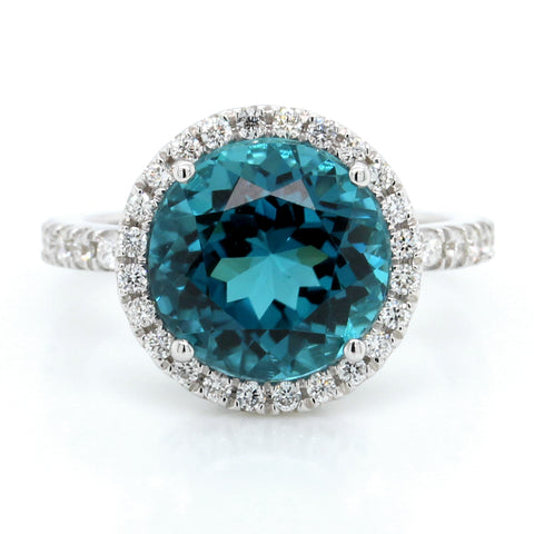 18K White Gold Blue Tourmaline and Diamond Halo Ring