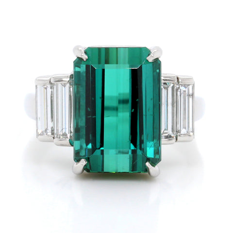 Platinum Emerald Cut Tourmaline and Diamond Ring (One-Of-A-Kind Collection)