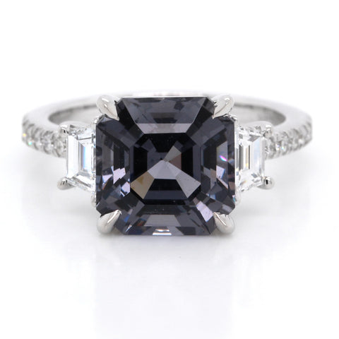 18K White Gold Three-Stone Graphite Spinel Ring