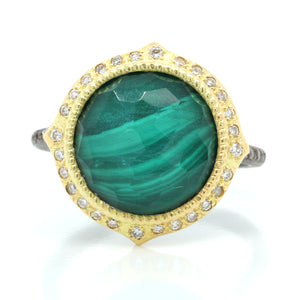 18K Yellow Gold and Sterling Silver Malechite and Quartz Diamond Ring