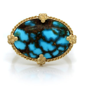 18K Yellow Gold Oval Turquoise Ring