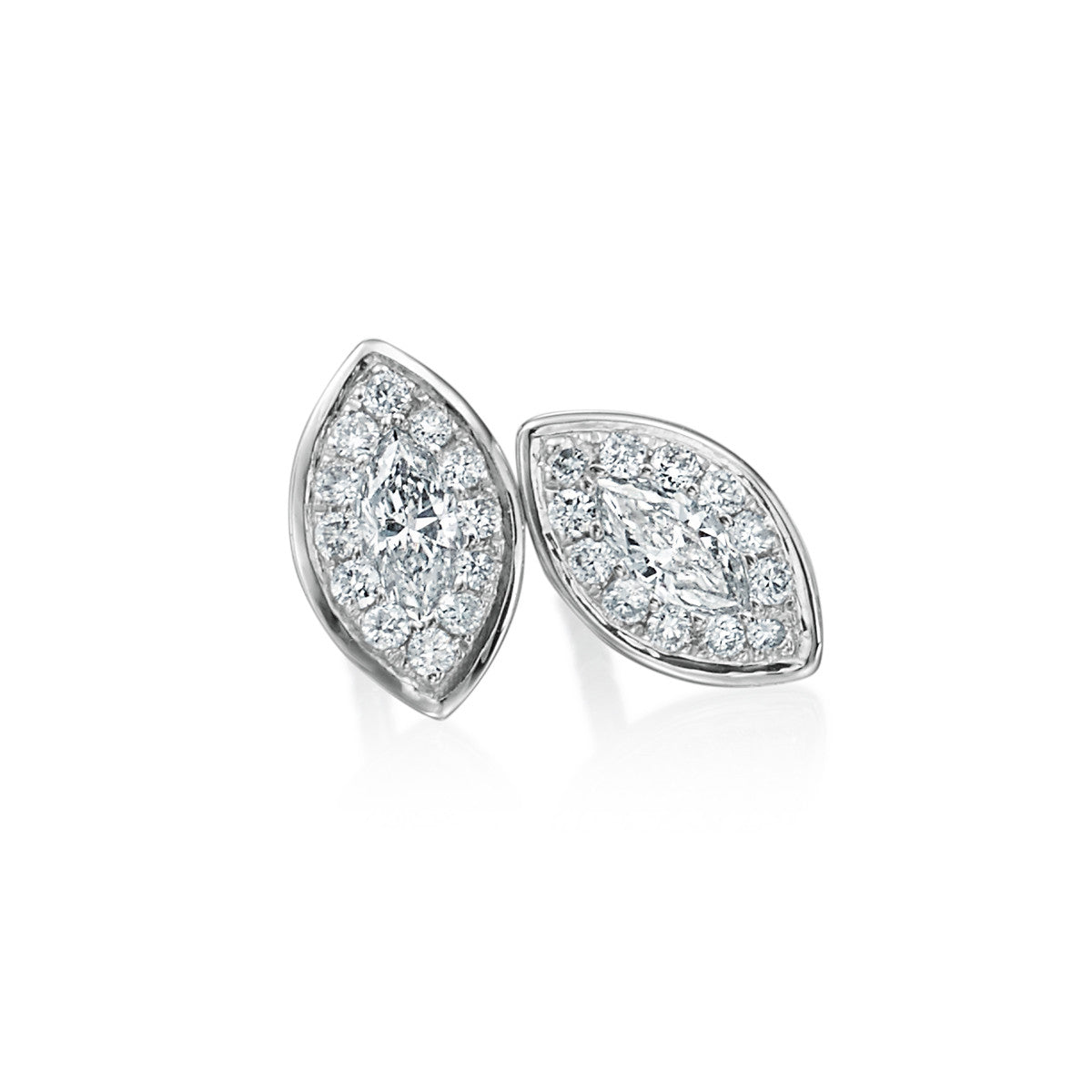 18K White Gold Marquise Cut Diamond Halo Stud Earrings