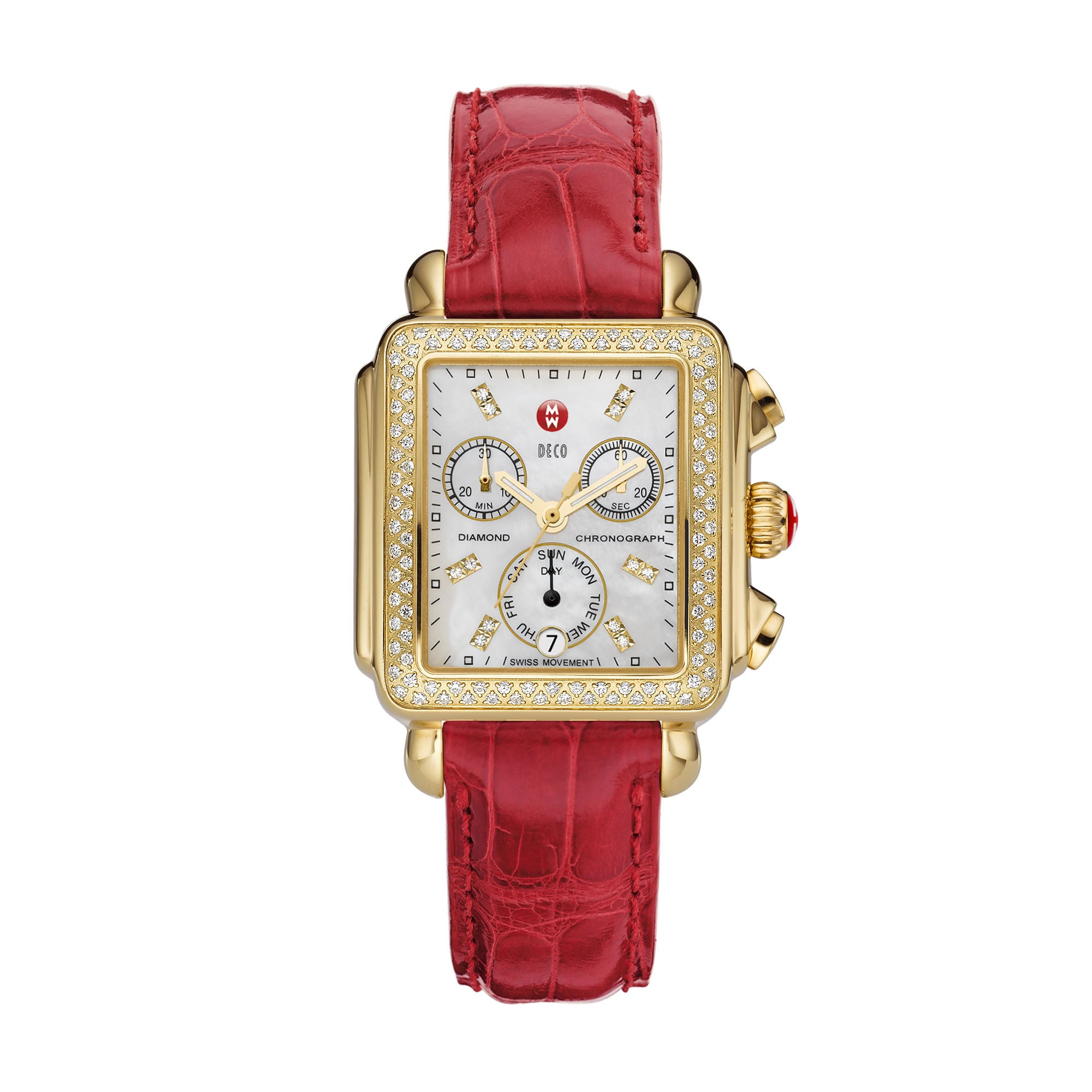 Michele Watch Deco Gold Diamond with Diamond Dial