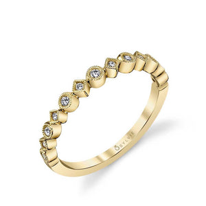18K Yellow Gold Bezel Set Alternating Milgrain Wedding Band