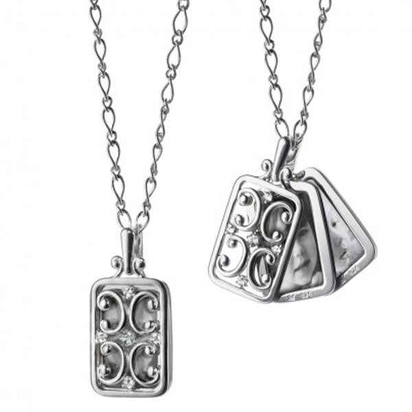 Sterling Silver Rectangular Gate Locket With Sapphires