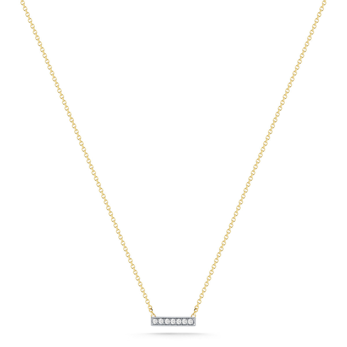 14K Yellow Gold Mini Diamond Pave Bar Necklace