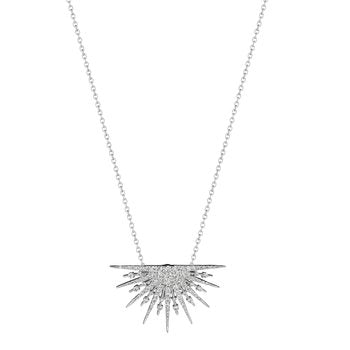 18K White Gold Small Sunburst Diamond Necklace
