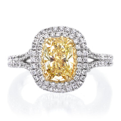 14K Two-Tone Gold Cushion Cut Yellow Double Diamond Halo Split Shank Engagement Ring