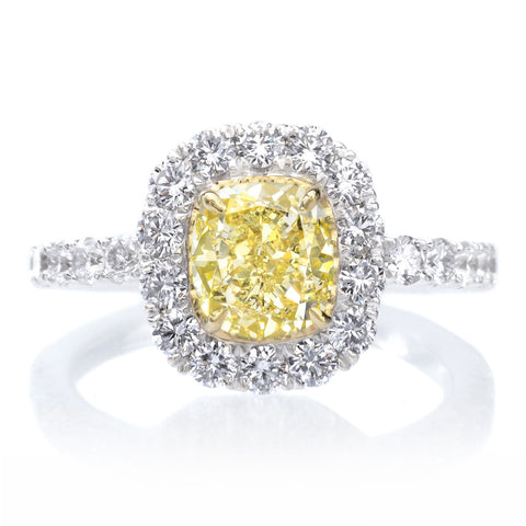 18K Two Tone Gold Cushion Cut Yellow Diamond Halo Engagement Ring