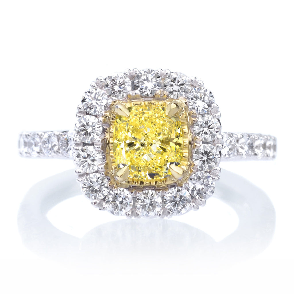 18K Two Tone Gold Yellow Diamond Halo Engagement Ring