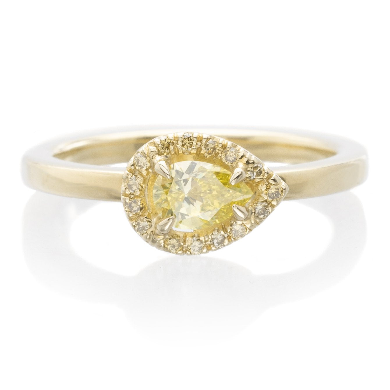 18K Yellow Gold Pear Halo Yellow Diamond Ring