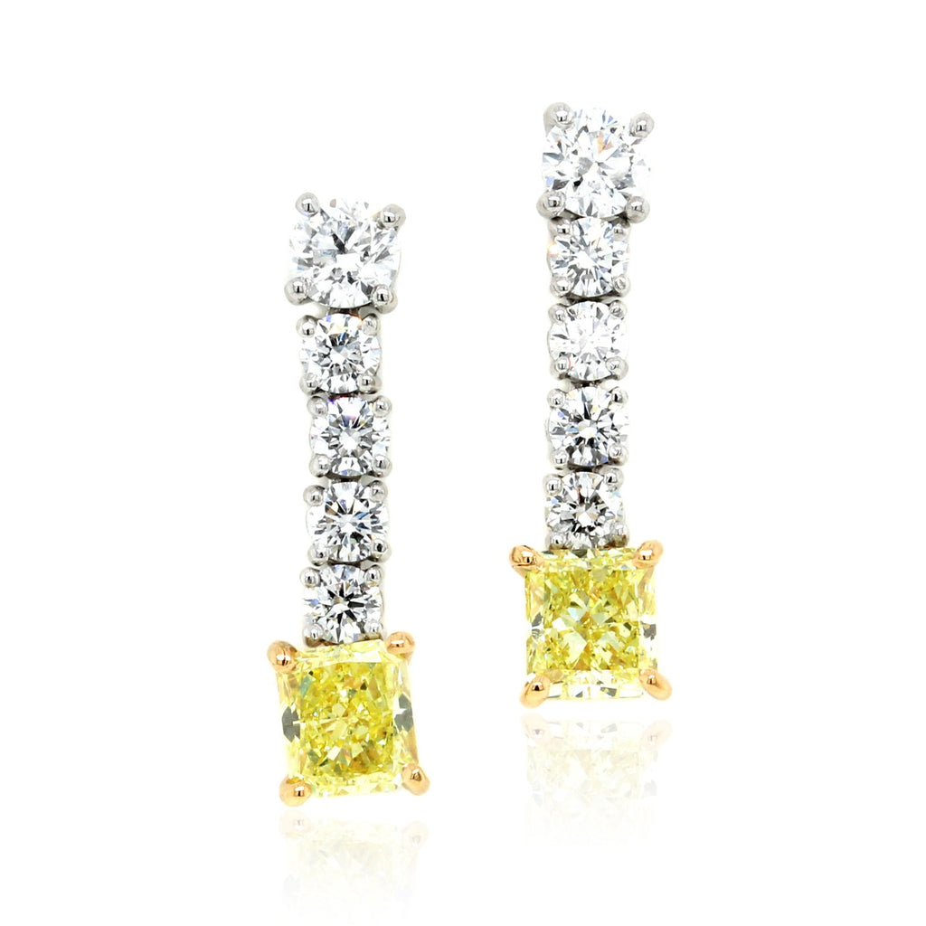 Platinum and 18K Yellow Gold Fancy Yellow Diamond Dangle Earrings