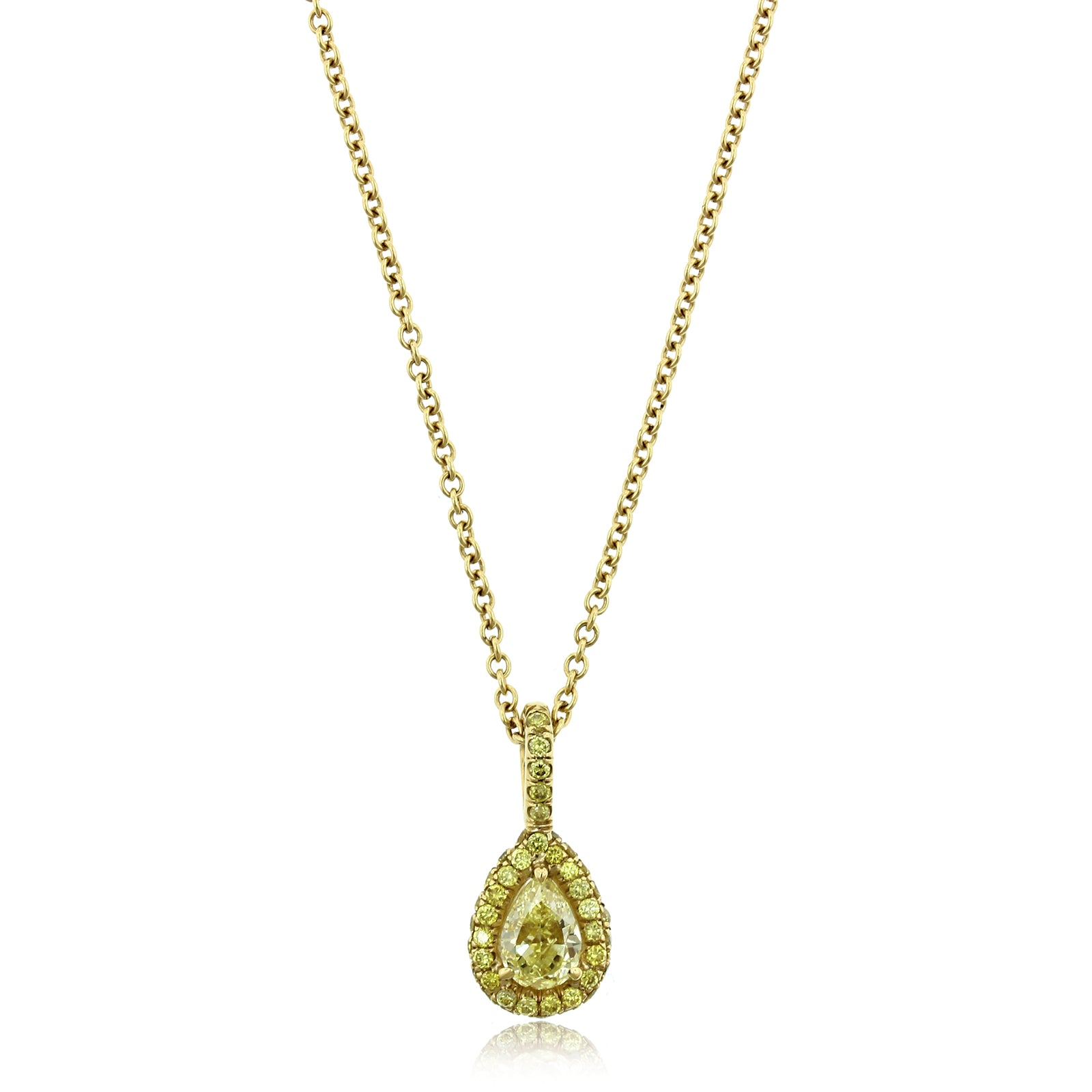 18K Yellow Gold Pear Shaped Yellow Diamond Pendant