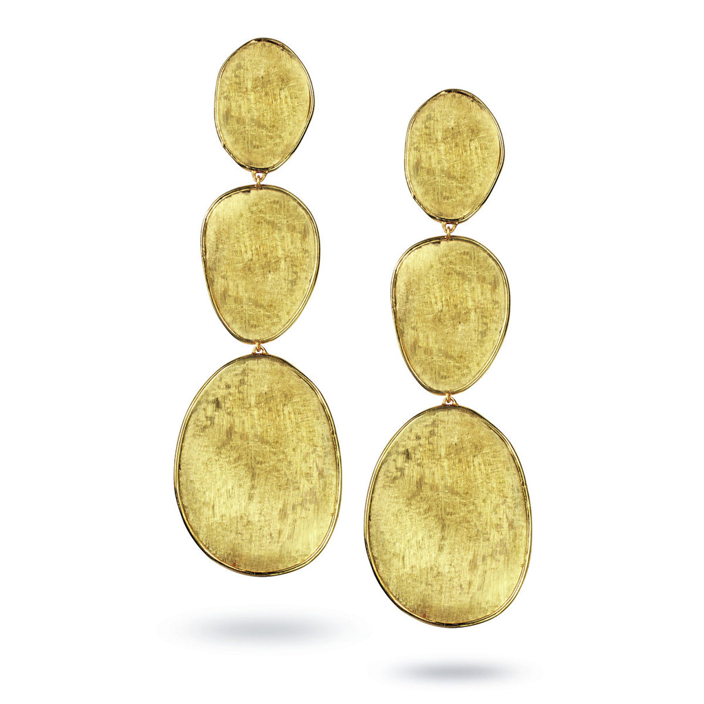Lunaria 18K Hand Engraved Yellow Gold Earrings