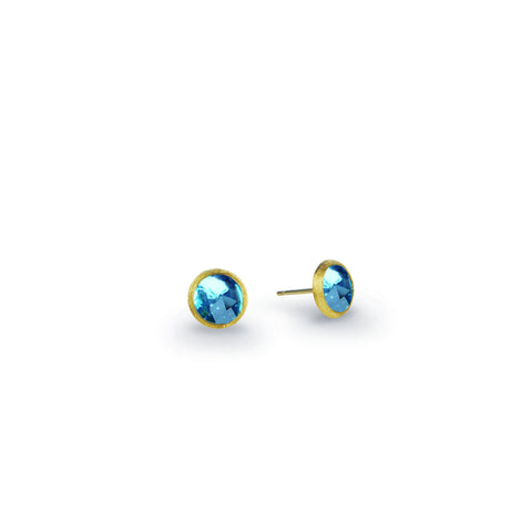 Jaipur 18K Yellow Gold & Blue Topaz Petite Stud Earrings