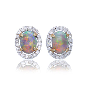 14K White Gold Oval Opal & Diamond Earrings