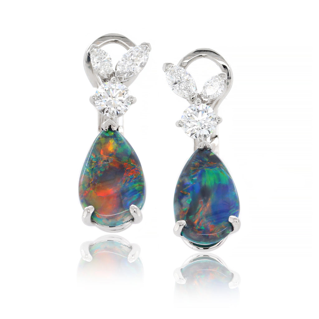 Platinum Pear Shaped Opal and Diamond Dangle Earrings