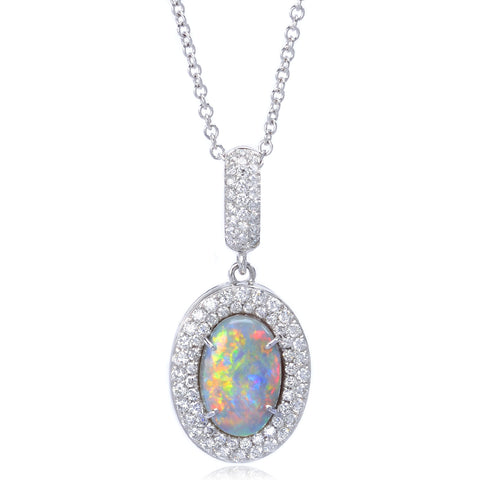 18K White Gold Oval Opal & Diamond Halo Necklace